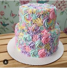 Fun colorful buttercream flowers cake design