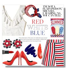 """Red White &a Blue #fourthofjuly"" by londynalei ❤ liked on Polyvore featuring Thom Browne, Hollister Co., TaylorSays, Miriam Haskell, Smashbox and Obsessive Compulsive Cosmetics"