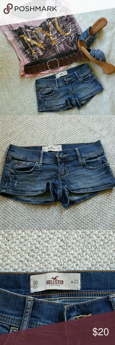 "Hollister Jean Shorts Hollister distressed Jean shorts! Brand new condition, worn once! Goes with EVERYTHING! Waist measures at 13"" across, Inseam 2"" Hollister Shorts Jean Shorts"