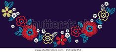 Vector flowers embroidery immitation around neck of t-shirt for girls - Buy this stock vector and explore similar vectors at Adobe Stock Vector Flowers, Photography Tutorials, Crochet Necklace, Embroidery, Shutter Speed, Vectors, Adobe, Stuff To Buy, Explore
