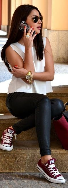 60 Stylish Fall Outfits On The Street 2015 30 Outfits, Outfits With Converse, Fall Outfits, Casual Outfits, Cute Outfits, Fashion Outfits, Womens Fashion, Converse Sneakers, Maroon Converse Outfit