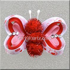 Valentines Butterfly Hair Clip Valentine Hair Clip Valentine Hair Bow Pink Red White via Etsy