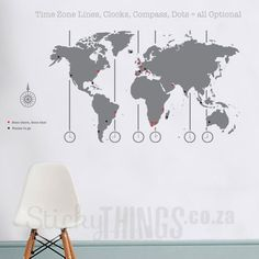 Removable vinyl world map wall decal time wall art clock wall our world map decal comes in 18 colours with small location dots a map key and time zones free courier delivery in south africa and free compass decal too gumiabroncs Images