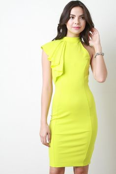 @modaonpoint This bodycon dress features an asymmetrical design, one pleated flutter sleeve, mock neckline, body con fit, midi hemline, knit fabrication and an invisible zipper back closure. Accessories sold separately. Made in U.S.A. 65% Rayon, 30% Nylon, 5% Spandex.