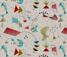 Mid-Century Atomic Stars fabric by mid-century on Spoonflower - custom fabric