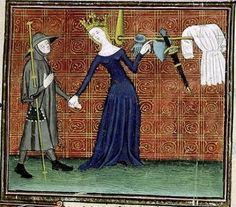 Le pèlerinage de la vie France 1375 - 1399 XIVe siècle pèlerin reine armes Miniature object