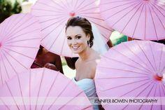 bride, pink parasols, wedding photography