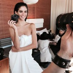 Sara white towel and a dazzling smile! backstage Feb 2015 <3