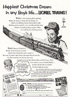 Great fun with toy trains especially at Christmas...this is a vintage advertisement for a Lionel Train Set!  Santa brought me one Christmas of 1956 or 1957. Played many hours with it!