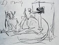 "Photo Gallery of Famous Paintings by Famous Artists: Sketch by Picasso for his Famous ""Guernica"" Painting Pablo Picasso, Picasso Guernica, Artist Painting, Drawing Lessons, Picasso Sketches, Gesture Drawing, Arts Ed, Types Of Art, Dibujo"