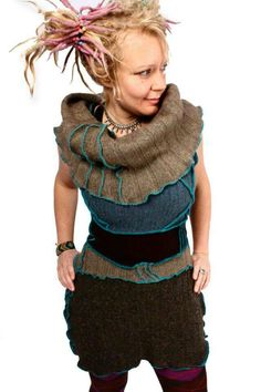 Cowl neck sweater tunic vest made from upcycled sweaters by Katwise on Etsy