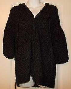 BCBG Max Azria Short Hoodie Sweater Button Up Black Speck Sweater Zip Front XS