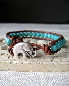 Beaded Leather Wrap Bracelet, Elephant Bracelet, Turquoise Bracelet by My Sweet Nomsa on Etsy