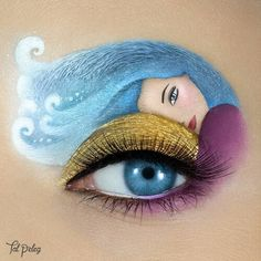 Eyes are precious windows to our soul - we need to protect them. ☺ affects a growing number of people and it's symptoms can be uncomfortable and impact daily life. This eye-art was created for the campaign, and meant to represent the effect of VisuXL Disney Eye Makeup, Eye Makeup Art, Eye Art, Eyeshadow Makeup, Makeup Cosmetics, Make Up Art, Eye Make Up, Crazy Makeup, Cute Makeup