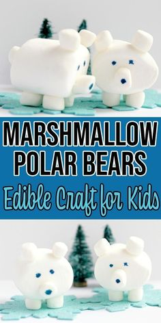 Are the kids stuck inside on a cold, snowy day? Do you need a fun boredom buster? Get the directions to make this 3D edible marshmallow polar bear craft. | Winter Crafts for Kids Bear Crafts Preschool, Animal Crafts For Kids, Winter Crafts For Kids, Preschool Classroom, Polar Bear Crafts, Kids Crafts, Preschool Family, Body Preschool, Preschool Projects