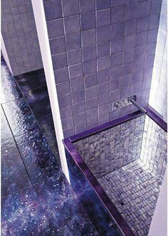 Purple tile and deep set tub I love love love this. perfect for my dream house! I love the purple! Purple Home, Art Violet, Neon Light, Purple Bathrooms, Lavender Bathroom, All Things Purple, Purple Stuff, Purple Reign, Shades Of Purple