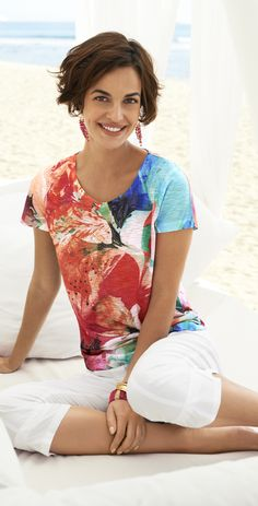 Chico's Floral Melody Ruched Raye Tee.  This is how WE do summer.