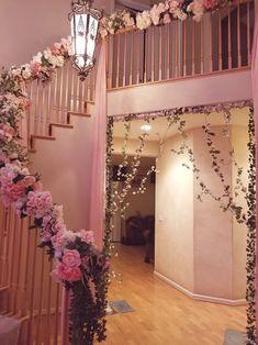 Wedding and Ceremony Event Decorations Indoor Wedding Decorations, Desi Wedding Decor, Engagement Decorations, Wedding Stairs, Wedding Gate, Wedding House, Pakistani Mehndi Decor, Gate Decoration, Stair Decor