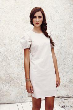 Minetta Dress in Basket Weave White, troubadour clothing