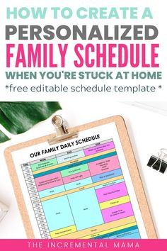 Stuck at home and trying to create a realistic schedule for your family? Grab a free editable daily schedule template and create a personalized schedule that works for you and your family. Daily Routine Schedule, Daily Schedule Template, Week Schedule, Family Schedule, Schedule Printable, Routine Chart, Kids Schedule, School Schedule, Daily Routines