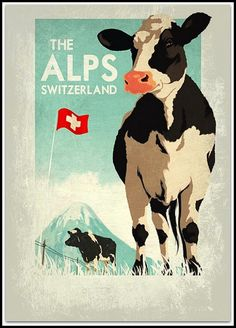 Travel poster Swiss Alps.