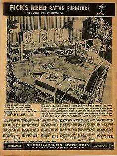 1951 Ad Ficks Reed Rattan Furniture Mid Century Tropical Patio Settee Chair Lamp Ebay