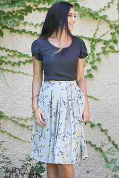 Such a pretty, delicate floral pattern skirt! You'll love the pops of navy & yellow perfectly set off by the light gray background! Pleated Full Modest Skirt in Gray w/Yellow Floral Print