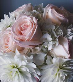 White & Peach Wedding Bridal Bouquet :: The Vines Flower & Garden Shop