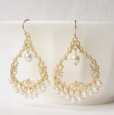 Gold Pearl Chandelier Earrings by PeriniDesigns on Etsy, $26.00