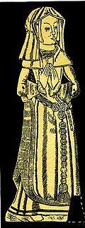 Unknown lady. c. 1540. Memorial brass. Little Walsingham, Norfolk.