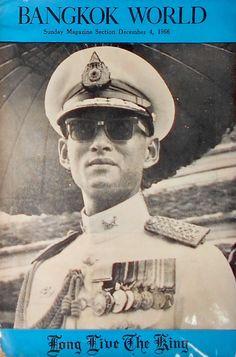 "King of Thailand : His Majesty King Bhumibol Adulyadej (RAMA IX) พระบาทสมเด็จพระเจ้าอยู่หัวภูมิพลอดุลยเดช ภาพจากปกนิตยสาร BANGKOK WORLD 4 December 1966 ; ๔ ธันวาคม ๒๕๐๙ ""LONG LIVE THE KING"""