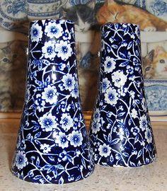 Vintage Burleigh Blue Calico Staffordshire - Rare Salt and Pepper Shakers