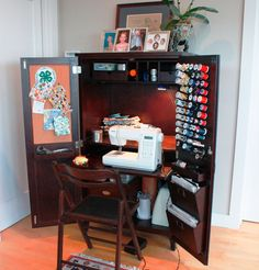DIY sewing station made from tv cabinet armoire.and you can hide a project in progress when company comes over! Sewing Nook, Sewing Spaces, Diy Sewing Table, Sewing Station, Craft Station, Craft Cabinet, Sewing Cabinet, Armoire Makeover, Space Crafts