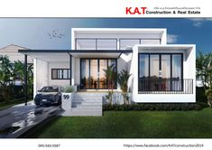Bungalow House Design, House Front Design, Small House Design, Dream Home Design, Home Design Plans, Modern House Design, Low Cost House Plans, One Floor House Plans, Facade House