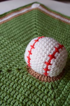 Crochet Baseball Blanket Baseball Afghan Crochet Sports Lovey/Security Blanket Baseball Game Field Diamond With Bases Blanket Throw Afghan  ************************************************************************************  Hit a home run for your little slugger with this soft cuddly baseball blanket. It features a baseball centered in the middle of the field on the pitchers mound surrounded by the diamond and bases. Made in a smoke free environment.  Measurements: ~ Blanket is…