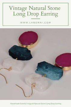 Vintage Jewelry - Colorful Irregular Natural Stone Long Earrings Handmade Drop Earring Women's Jewelry, Vintage Jewelry, Jewelry Design, Simple Earrings, Women's Earrings, Earring Crafts, Shape Patterns, Wholesale Jewelry, Earrings Handmade