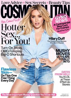 Hilary Duff in Agolde on the February 2017 Cover of Cosmopolitan Magazine