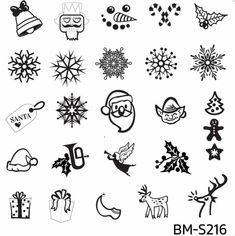 BM-S216 Christmas xmas holiday winter bell nutcracker snowman candy canes holly snow snowflakes Santa gift tag elf tree gingerbread man star hat horn angel presents reindeer Rudolph nail stamping plate