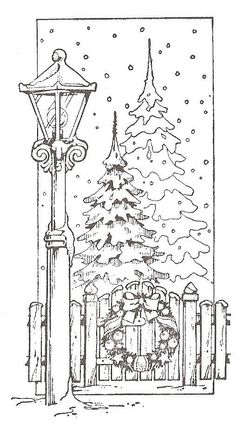 Holiday, Christmas, winter, lamp post, pine trees, Navidad. This would be cute cut out with cricut