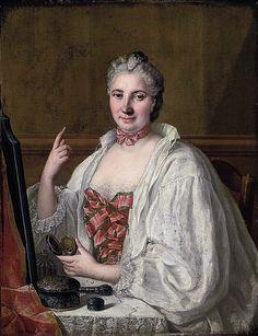 Anne de La Grange-Trianon by Circle of François-Hubert Drouais. Portrait of a Lady traditionally identified as Anne de La Grange-Trianon (1632-1707), Countess of Palluau and Frontenac, seated at her toilette, applying a beauty spot