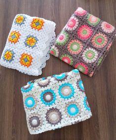Seher (@eski_kafa_)   Instagram photos and videos Manta Crochet, Crochet Granny, Baby Blanket Crochet, Crochet Yarn, Baby Knitting Patterns, Hand Knitting, Crochet Patterns, Crochet Borders, Square Blanket