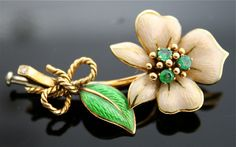 Tiffany Emerald Pin  18k Gold and Enamel Brooch by SITFineJewelry, $2250.00. To dream with...happy dreams