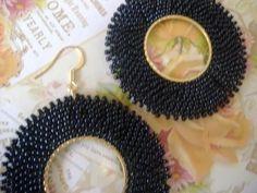 Hoop Earrings  Big Bold Black Seed Bead Hoop by WorkofHeart