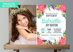 These Girls Floral LDS Baptism Invitations with Photo are the PERFECT way to announce the Baptism of your little miss, so that her Baptism Invite can be something beautiful she'll treasure always!   ►►Thank you for stopping by! That makes you AWESOME! ►►INSTANT DOWNLOAD!! EDIT WITH LATEST VERSION OF ADOBE READER!! PRINT AT HOME!!  This listing is for the digital file of this LDS Girls Baptism Photo Invitations - With Florals - Printable Instant Download  ► Please note that ALL of the text…