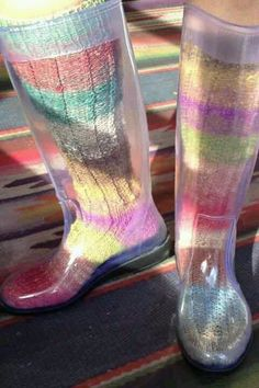 Peak-A-Boo boots with knit socks