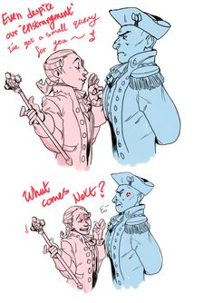 """More George squared…..cause….deal with my trash???"" - King George III and George Washington in Hamilton"