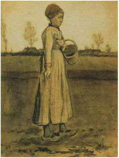 Peasant Woman Sowing with a Basket by Vincent Van Gogh  Watercolor, Black chalk, watercolour  Etten: October, 1881