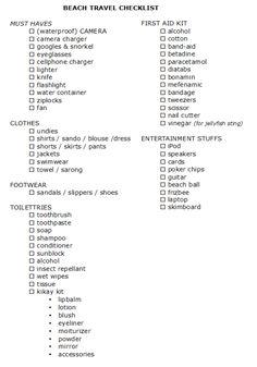 beach travel checklist