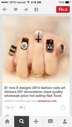 Image discovered by Find images and videos about black, nails and manicure on We Heart It - the app to get lost in what you love. Asian Nail Art, Asian Nails, Holloween Nails, Halloween Acrylic Nails, Cute Nails, Pretty Nails, Hair And Nails, My Nails, Witch Nails