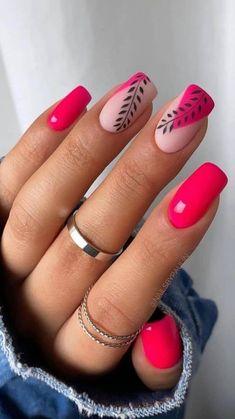 Cute Nail Art Designs, Short Nail Designs, Acrylic Nail Designs, Designs On Nails, Nail Color Designs, Nail Colors, Shellac Nail Designs, Accent Nail Designs, Bright Nail Designs